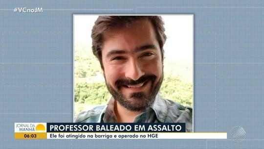 Família de professor baleado durante assalto em Salvador faz campanha por doação de sangue; vítima está internada no HGE