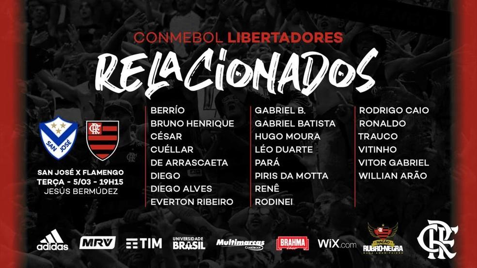 Relação de jogadores do Flamengo na viagem à Bolívia — Foto: Divulgação