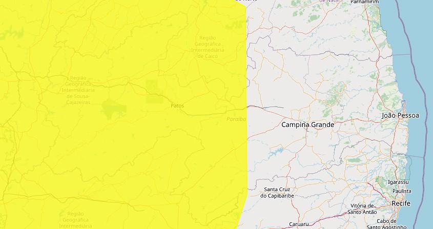 Inmet renova e amplia alerta de baixa umidade para 115 municípios da Paraíba