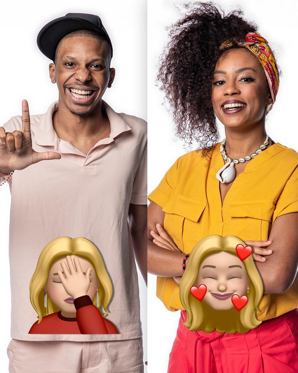 Lucas Penteado e Lumena recebem emojis de Kerline — Foto: Globo