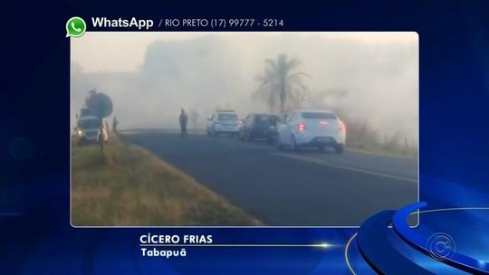 Incêndio em canavial deixa vicinal interditada entre Tabapuã e Olímpia