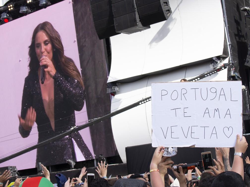 Ivete Sangalo ganha recado de portugueses durante show no Rock in Rio Lisboa (Foto: Divulgação )