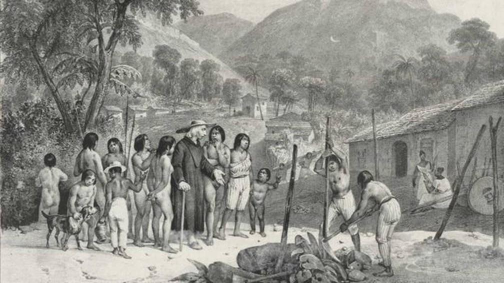 Doenças como varíola, sarampo, febre amarela ou mesmo a gripe estão entre as razões para o declínio das populações indígenas no território nacional — Foto: Biblioteca Nacional/via BBC