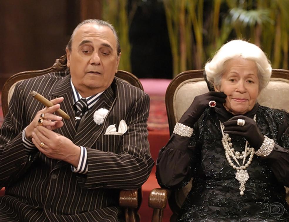 Agildo Ribeiro e Dinorah Pêra em cena de 'Zorra Total', em 2009 (Foto: Thiago Prado Neris/TV Globo)