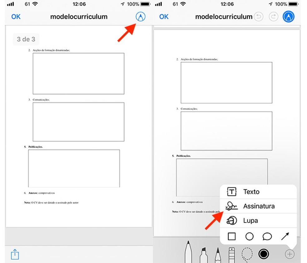 Caminho para ativar as opções para assinatura de um documento no app Arquivos para iPhone (Foto: Reprodução/Marvin Costa)