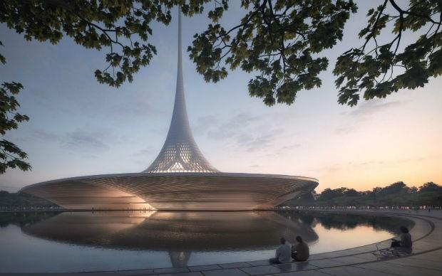 O prédio da assembléia legislativa terá formato de cone (Foto: Divulgação)