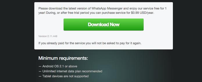 Download da versão atualizada do WhatsApp no site oficial do app (Foto: Reprodução)