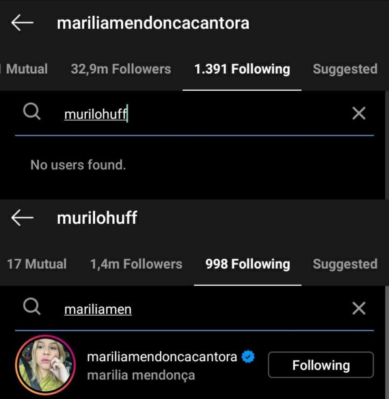 Marilia Mendonça para de seguir Murilo Huff nas redes (Foto: Reprodução/Instagram)