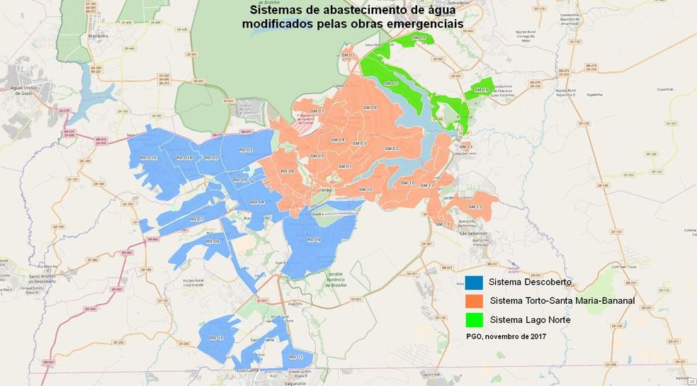 Obras emergenciais da Caesb permitiram ligao entre os reservatrios de Santa Maria e do Descoberto Foto CaesbDivulgao