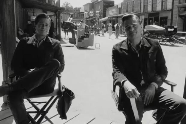 Brad Pitt e Leonardo DiCaprio em cena do trailer de Once Upon a Time (Foto: reprodução)