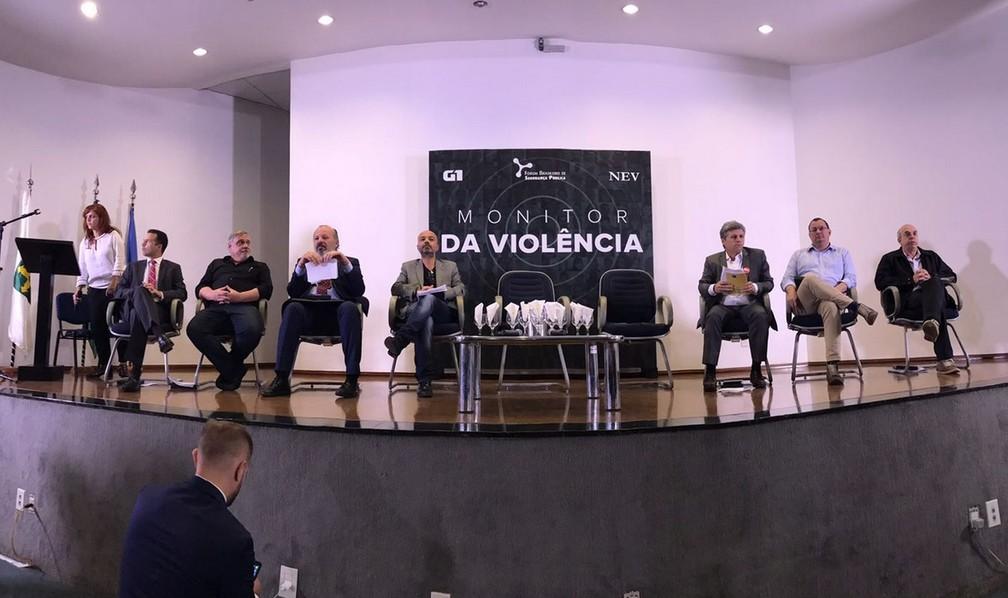 Representantes de candidatos à Presidência, em Brasília, durante debate sobre segurança pública organizado pelo Monitor da Violência, do G1 (Foto: Gustavo Garcia/G1)