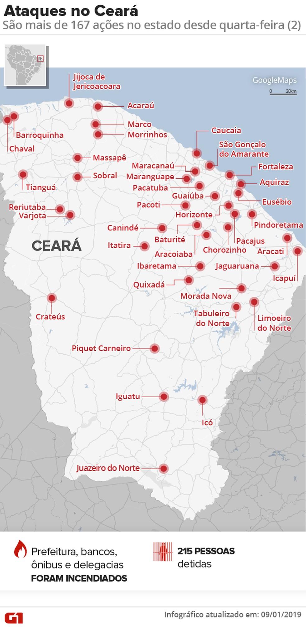 Ceará registra ações criminosas durante uma semana — Foto: Infográfico: Juliane Monteiro/G1