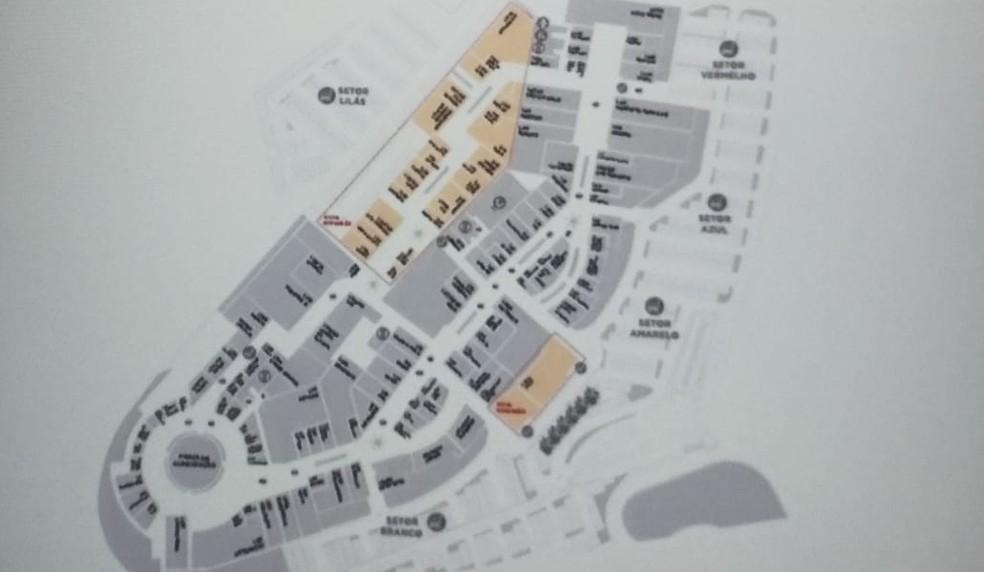 Na imagem, área laranja está representando a expansão e abertura de lojas em outlet de São Roque  (Foto: Matheus Fazolin/G1)
