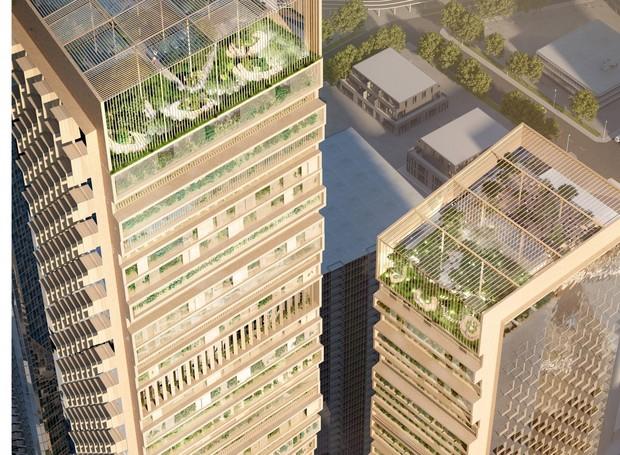 Um jardim botânico toma conta da cobertura do arranha-céu (Foto: UNStudio e Cox Architecture/ Reprodução)