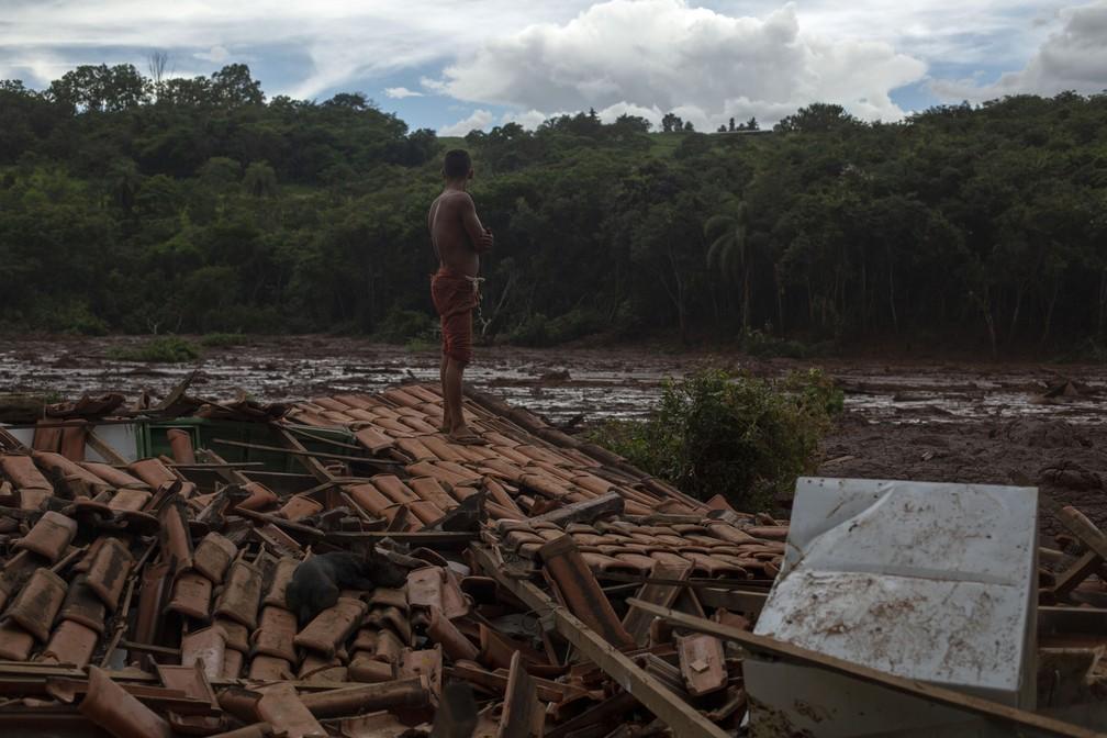 """""""Tudo estava tremendo e eu vi árvores imensas e pessoas desaparecendo embaixo da lama"""", diz Emerson dos Santos, em pé no telhado de casa para proteger o que restou de seus pertences depois do rompimento da barragem da Vale em Brumadinho. — Foto: Mauro Pimentel/AFP"""