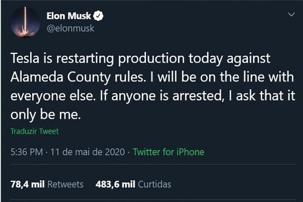 """Em sua conta no twitter, Elon desafiou as autoridades e afirmou que """"se é para alguém ir preso, que seja eu"""" (Foto: Twitter)"""