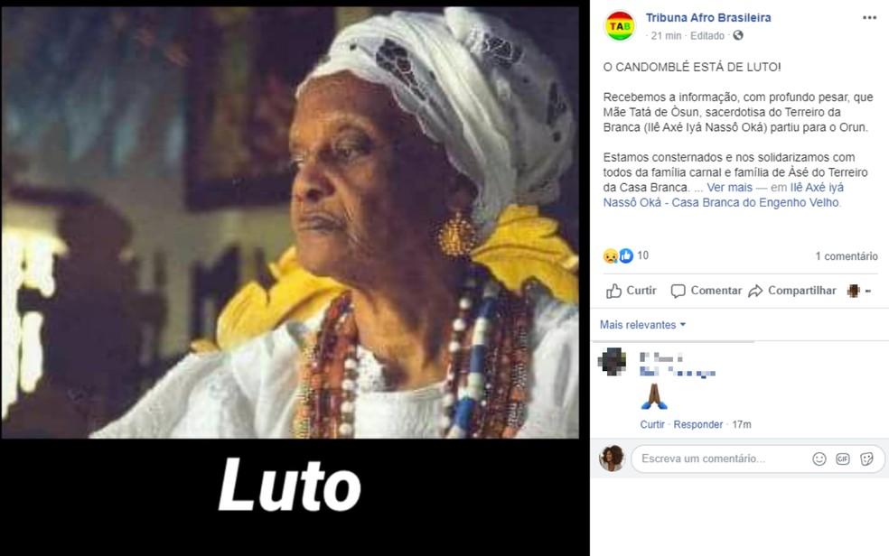 Ialorixá do terreiro mais antigo de Salvador, Mãe Tatá Oxum Tomilá morre aos 96 anos na Bahia — Foto: Reprodução/Redes Sociais