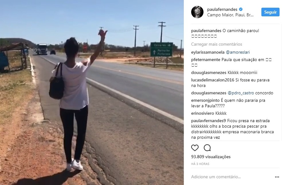 Paula Fernandes pede carona no Piauí (Foto: Reprodução / Instagram)