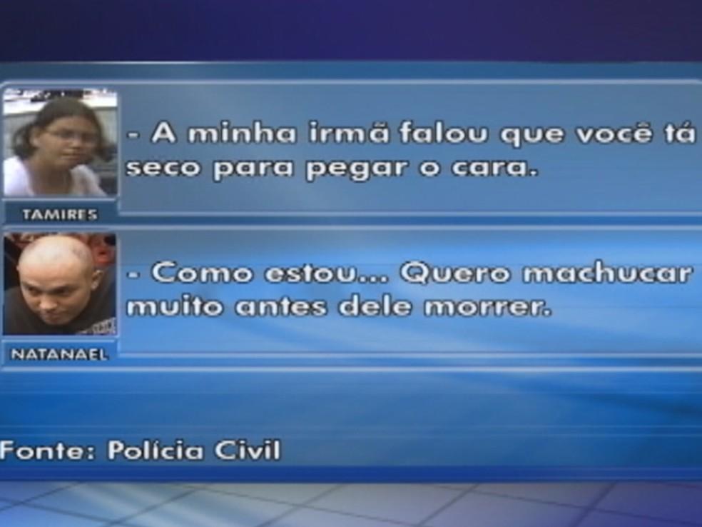 Parte da conversa que a polícia apreendeu nos celulares — Foto: Reprodução/ TV TEM
