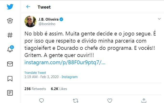 Boninho se manifesta após mudanças no 'BBB' (Foto: Reprodução/Twitter)