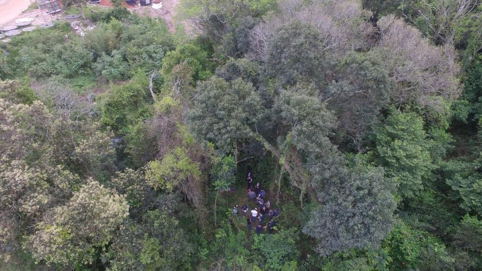 Polícia localizou corpo de Bárbara em uma área de mata fechada, em Santa Maria — Foto: Divulgação/IGP
