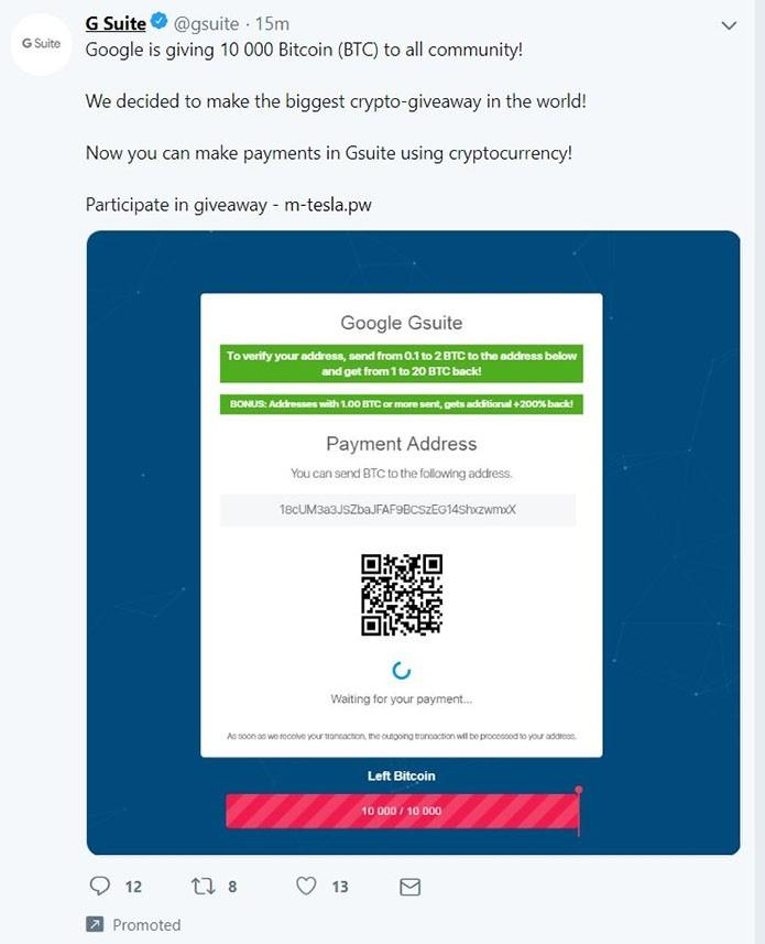 Conta oficial do Google G Suite no Twitter foi hackeada para disseminar golpe de Bitcoin