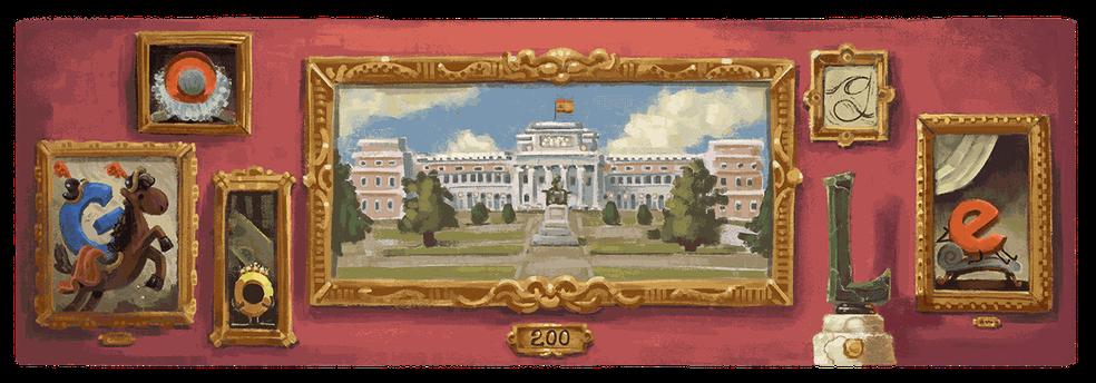 Google celebra bicentenário do Museu do Prado com um doodle — Foto: Divulgação/Google