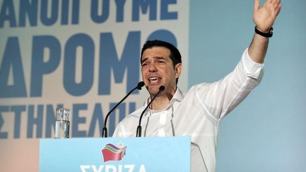 O líder da coalizão de esquerda Syriza, Alexis Tsipras, foi eleito primeiro-ministro em 2015 — Foto: Getty Images
