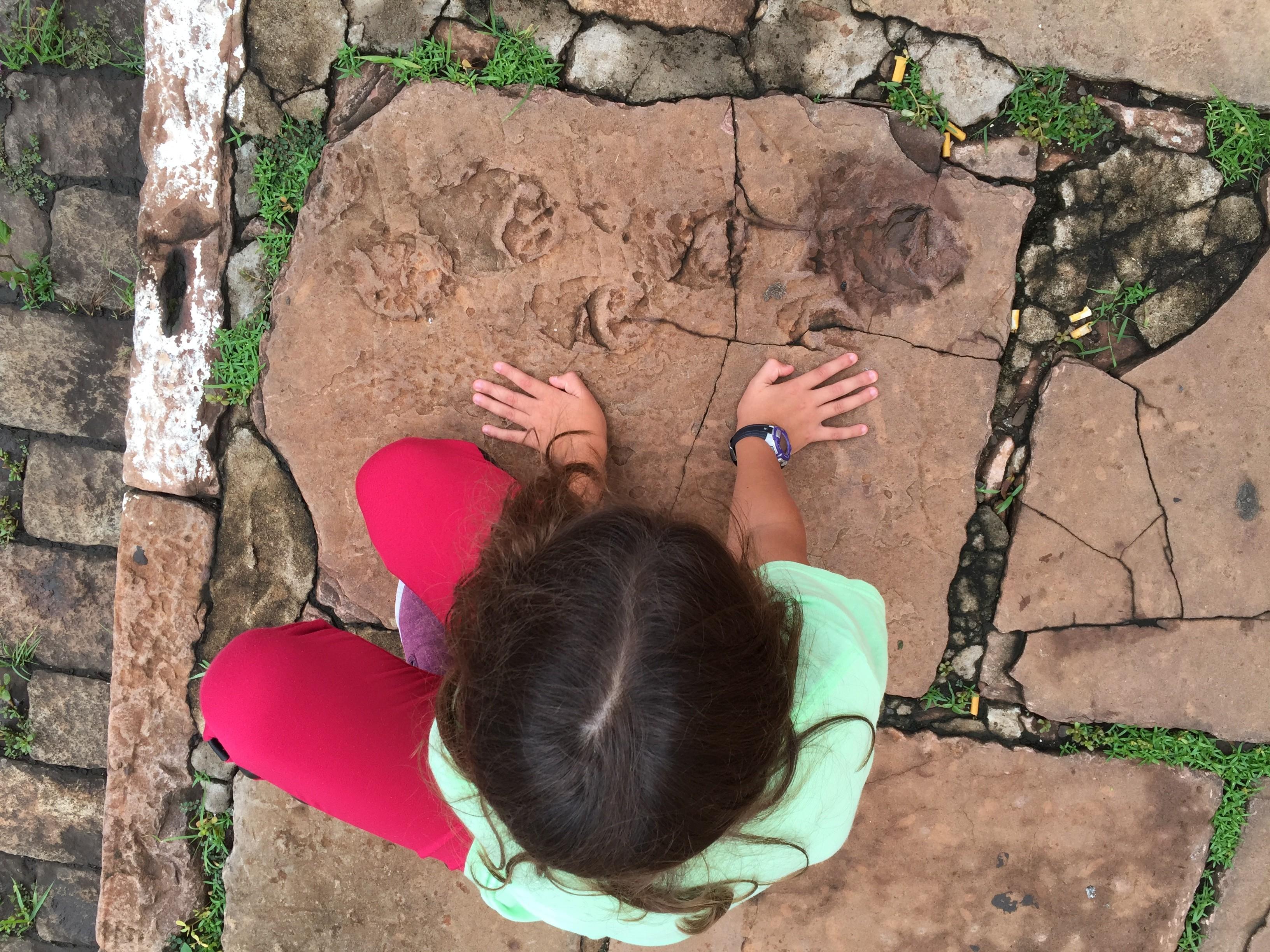 Pegada encontrada na  Av. José Bonifácio, em Araraquara (Foto: Marcelo Adorna Fernandes/ Arquivo pessoal)