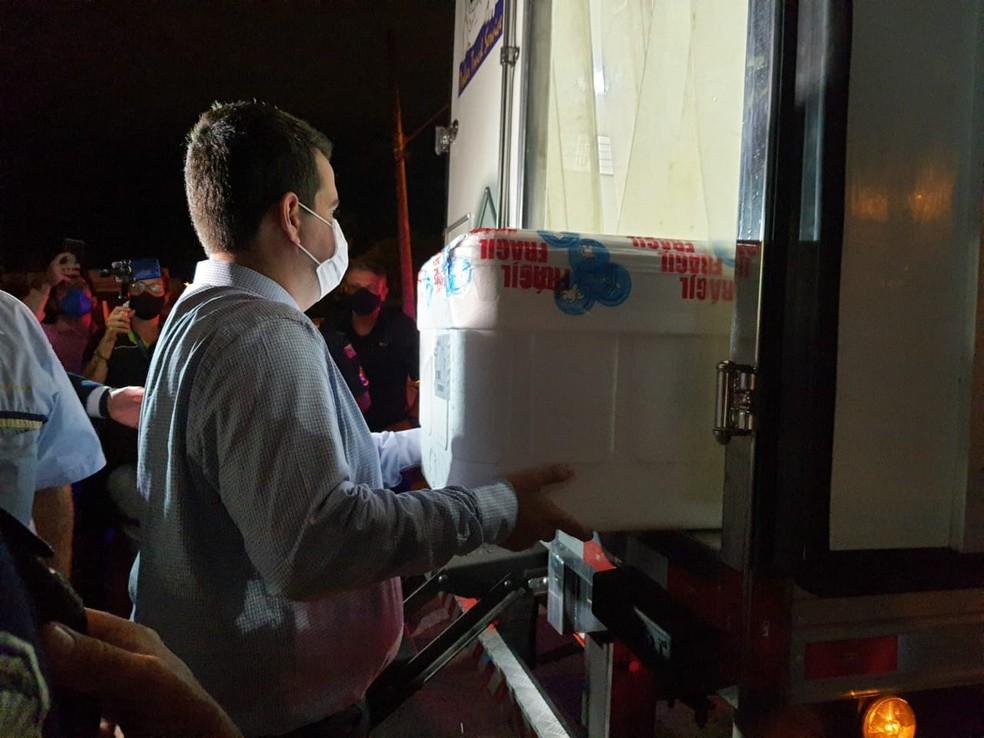 Sorocaba recebe a primeira remessa de vacinas contra Covid-19— Foto: Daniela Golfieri/ TV TEM