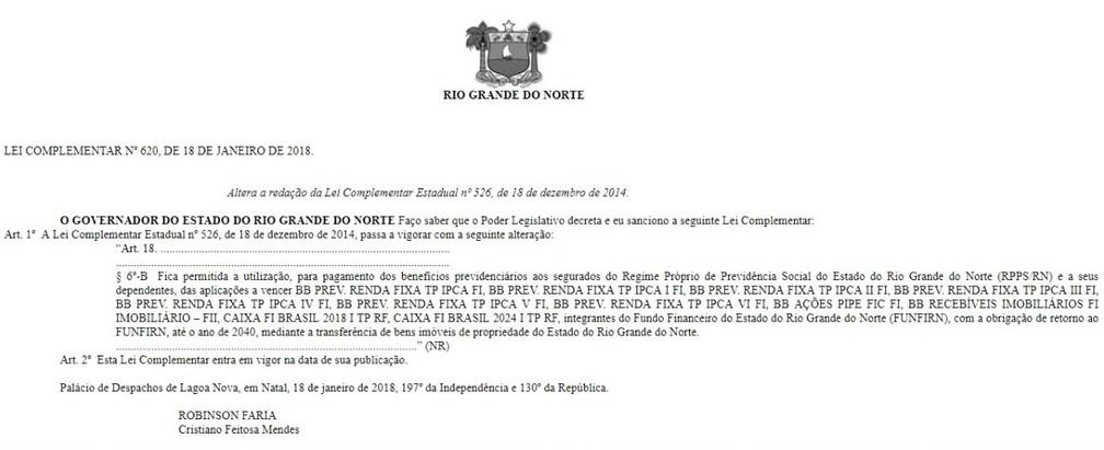 Lei foi publicada no Diário Oficial do RN desta sexta-feira (19) (Foto: Reprodução)