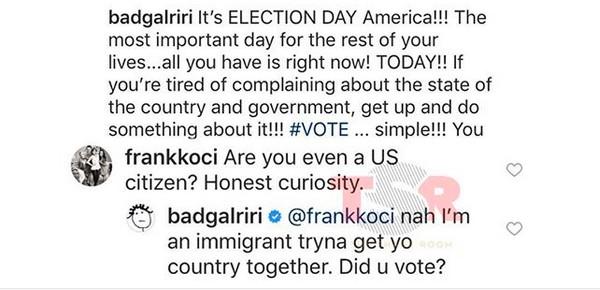 A resposta da cantora Rihanna sobre o seguidor que a questionou sobre sua nacionalidade (Foto: Instagram)