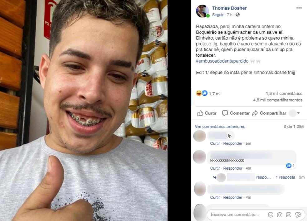 Jovem faz post para achar dente perdido e viraliza na web: 'Sem o atacante  não dá' | Santos e Região | G1