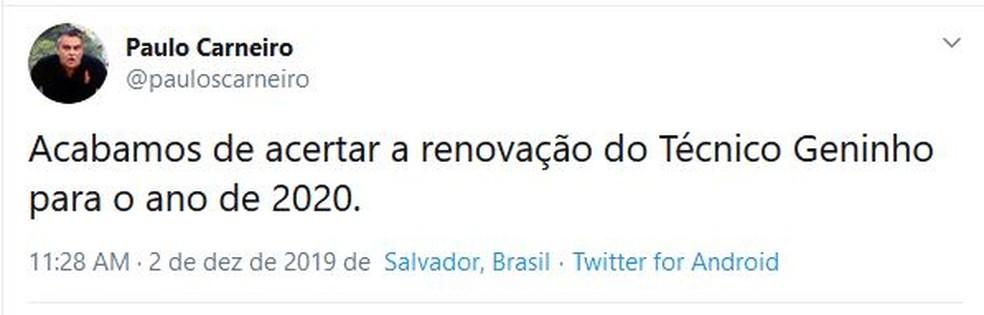 Paulo Carneiro confirma renovação de Geninho — Foto: Reprodução / Twitter