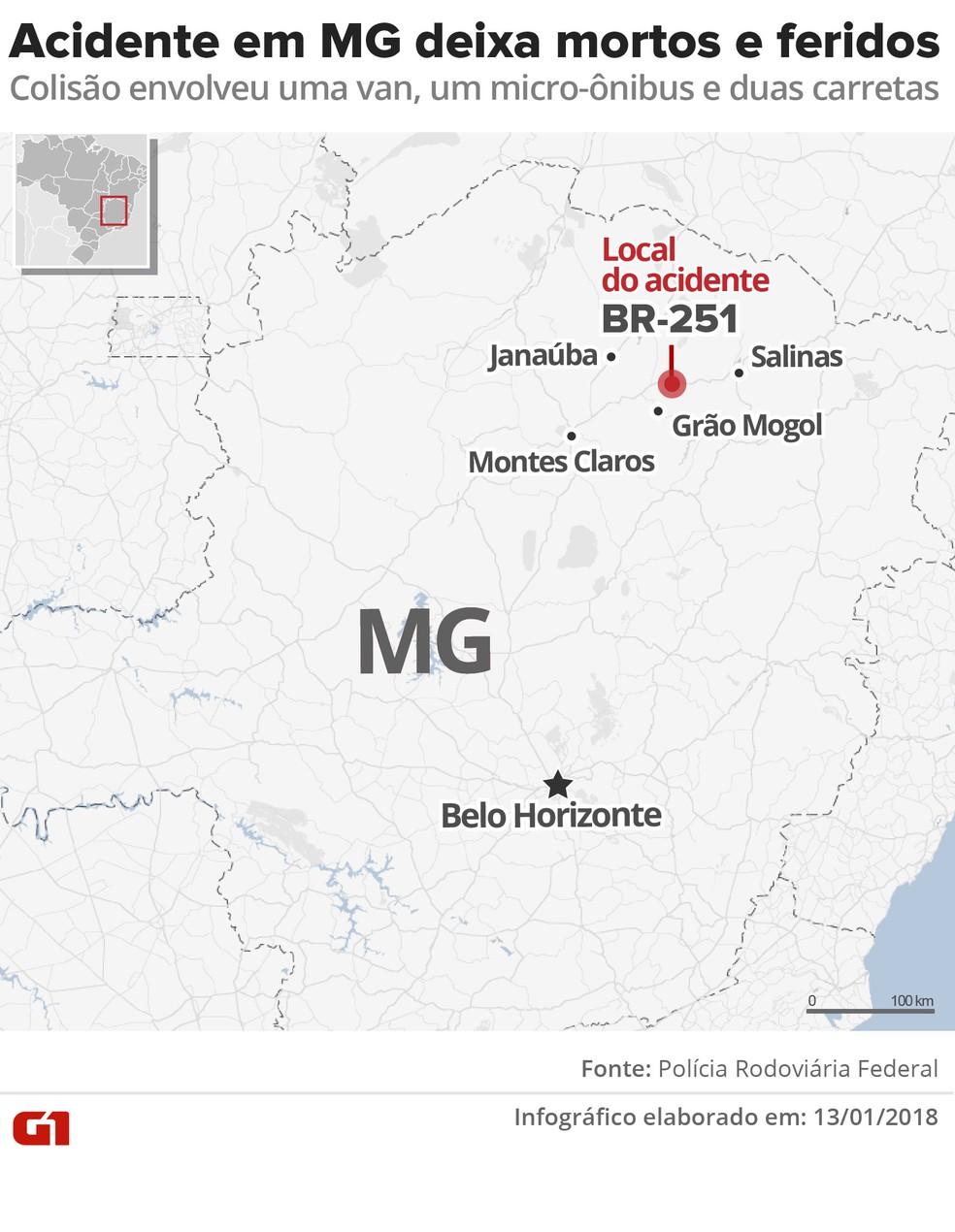 Acidente na BR-251 deixa mortos e feridos em Grão Mogol (Foto: Karina Almeida/G1)