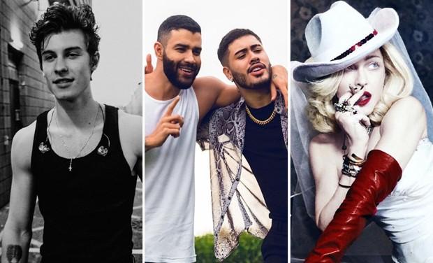 Shawn Mendes; Gusttavo Lima e Kevinho; Madonna (Foto: Reprodução/Instagram)