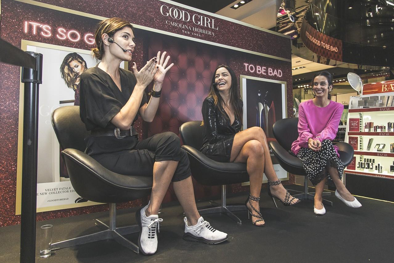 Laura Ancona, Lu Trancesi e Olivia Nicoletti em encontro na loja Sephora. (Foto: Leo Orestes)