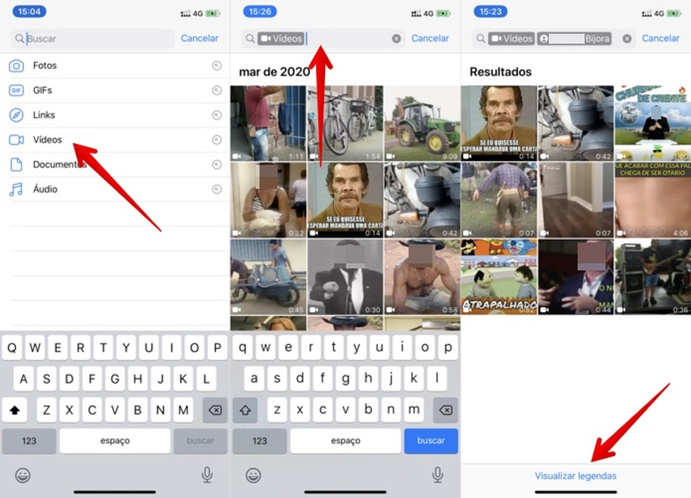 Pesquisando vídeos no WhatsApp — Foto: Reprodução/Helito Beggiora