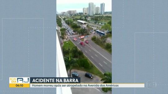 Homem morre atropelado na Avenida das Américas, na Barra