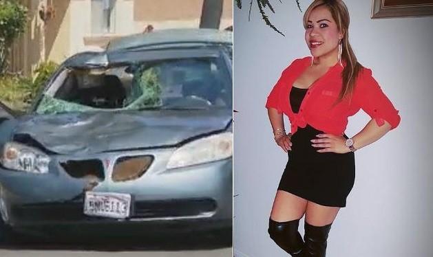 O carro com o parabrisa destruído e a motorista