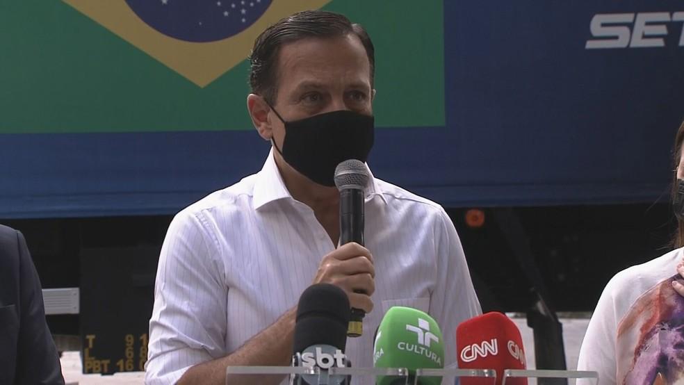 João Doria (PSDB) durante coletiva de imprensa na sede do Butantan nesta segunda (29) — Foto: Reprodução/TV Globo