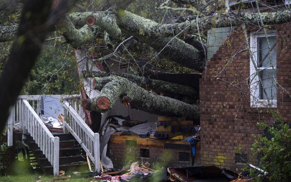 Casa na qual a queda de uma árvore causou a morte de uma mulher e um bebê durante a passagem do furacão Florence em Wilmington, na Carolina do Norte, na sexta-feira (14) — Foto: Andrew Caballero-Reynolds/AFP