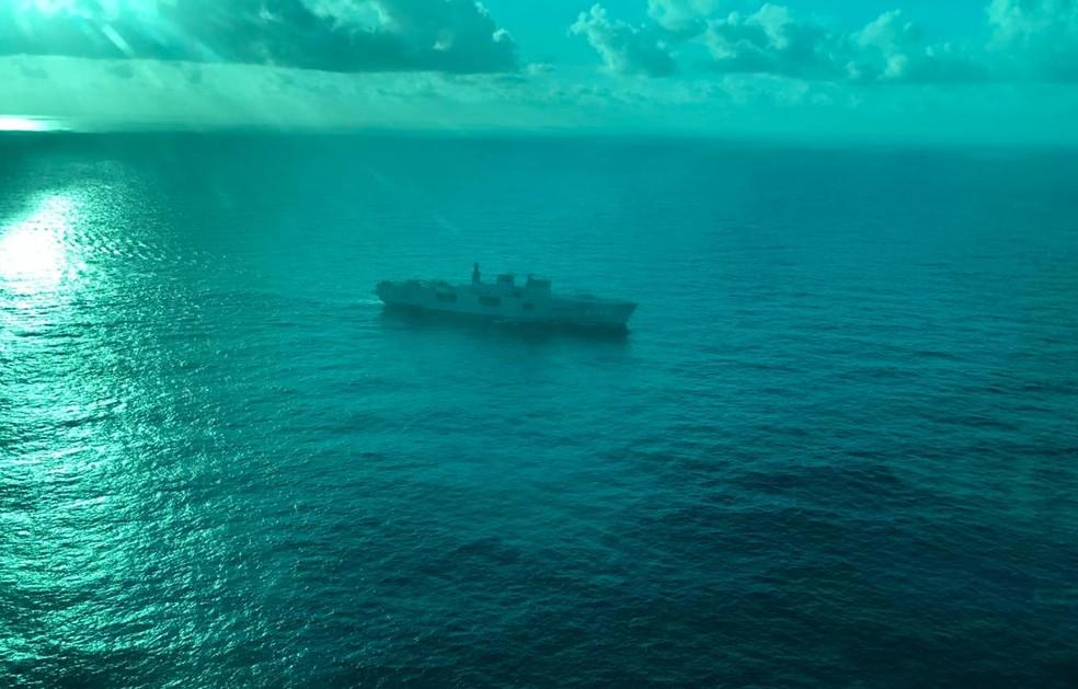 Navio Atlântico é o maior da esquadra da Marinha brasileira — Foto: Beatriz Castro/TV Globo