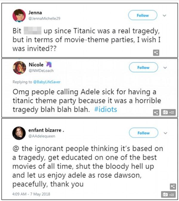 Comentários sobre a festa de Adele com tema do Titanic (Foto: Twitter)