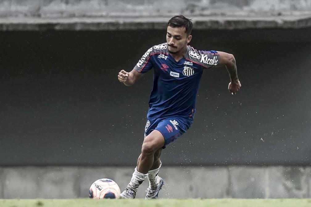 Lucas Lourenço é promessa antiga no Santos, mas nunca se firmou no profissional — Foto: Ivan Storti/Santos FC