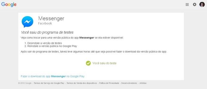 Confirmação de saída do programa de testes do Messenger para Android (Foto: Reprodução/Raquel Freire)