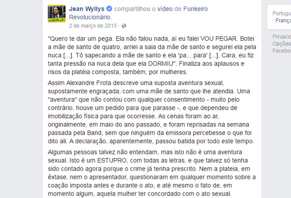 Postagem de Jean Wyllys em março de 2015, quando ele criticou a declaração de Frota (Foto: Reprodução/Facebook)