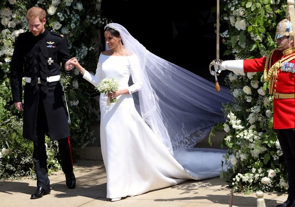 Harry e Meghan Markle, de vestido Givenchy (Foto: Getty Images)