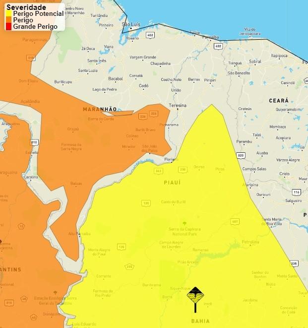 Inmet emite alerta de perigo potencial de chuvas intensas em 163 municípios do Piauí
