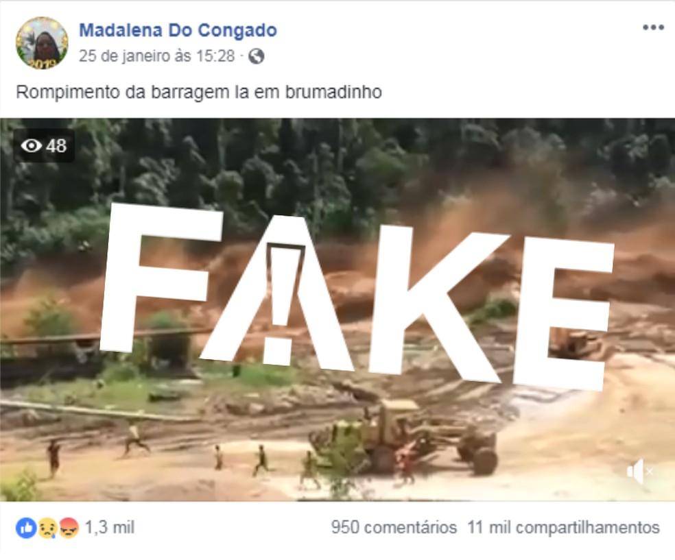 Vídeo de Laos tem sido compartilhado como se fosse na cidade mineira — Foto: Reprodução/Facebook